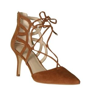 Marc Fisher Truthe Heel with Straps 6 Cognac